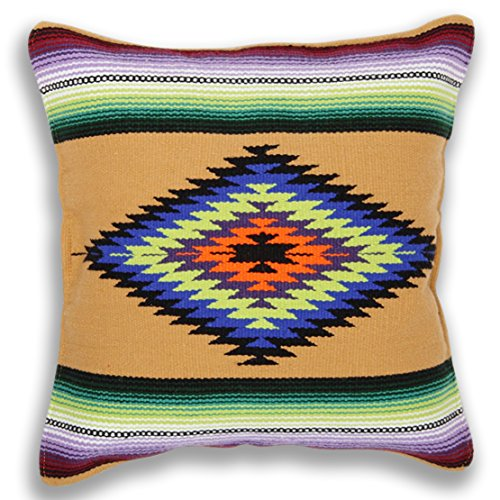 El Paso Designs Serape Throw Pillow Covers, 18 X 18, Hand Woven in Southwest and Native American Styles. ()