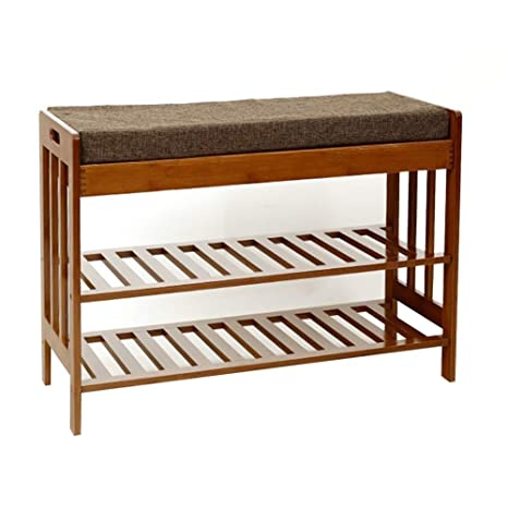 Amazon.com: Footstool Shoe Shelf Rack Madera Maciza Simple ...