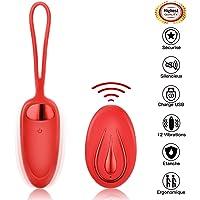Masseur Portable Sans Fil - FIDECH Oeuf Vibrant Télécommandé pour Femmes 12 modes de Masseur Silicone Imperméable
