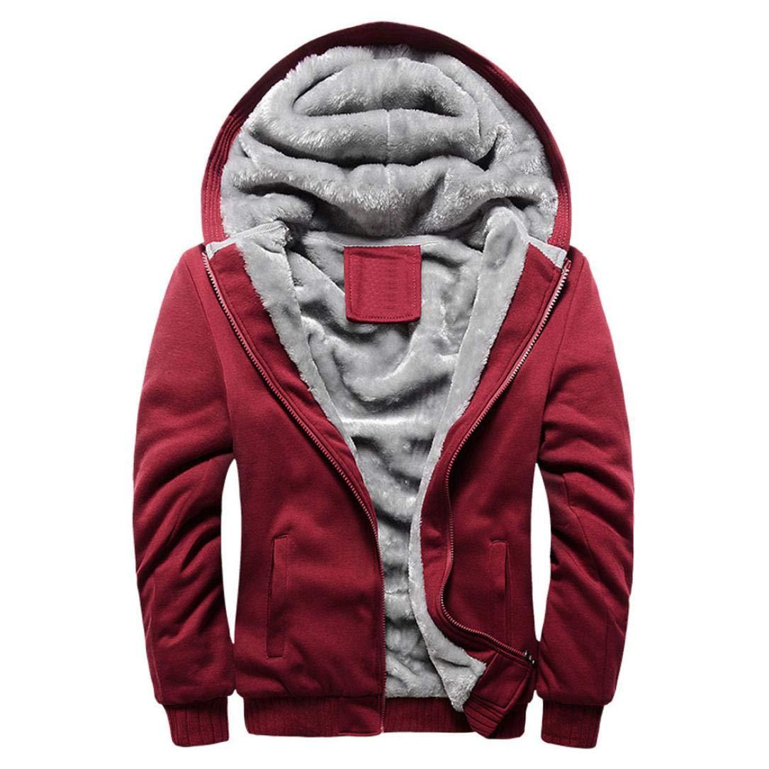 BHYDRY Fashion Mens Hoodie Winter Warm Fleece Zipper Sweater Solid Jacket Cotton Outwear Coat