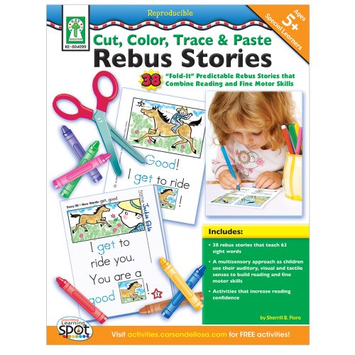 Cut, Color, Trace & Paste Rebus Stories, Ages 5 - 8
