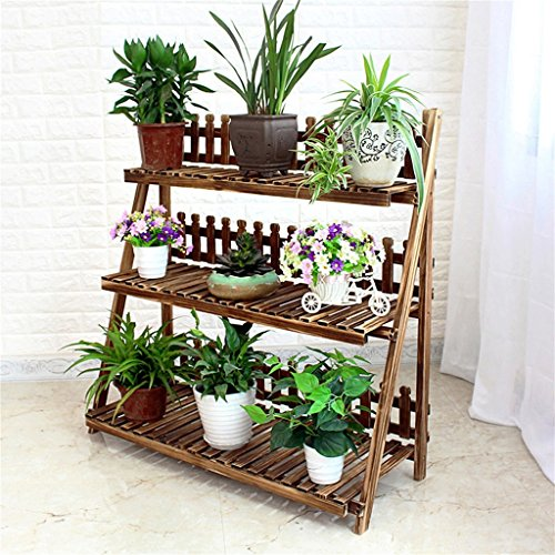 Multi-layer Floor-flower Rack,Foldable Wooden Flower Display Rack, Indoor Flower Stand, Multifunction Retro Plant Stairs for Garden/Indoor/Outdoor/Balcony Flower Shelves-Various Sizes Available