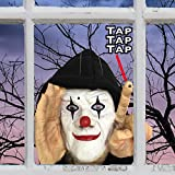 Scary Peeper Tapping Clown - Motion Sensor Scary Realistic Hooded Window Prop - Haunted House Prank Decoration Display