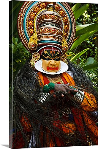 Canvas on Demand Premium Thick-Wrap Canvas Wall Art Print entitled Portrait of Kathakali dancer in full costume (Kathakali Full Costume)