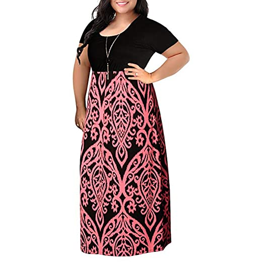 b7ce1567fff5b kaifongfu Women s Plus Size Long Maxi Dress Short Sleeve Summer Dress(Pink  ...