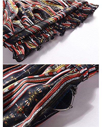 Donna Primaverile Di Inclusa Fiore Sottile Harem Lunga Pantaloni Vita Colour Stripe Semplice Glamorous Chiffon Trousers Cintura Lanterna Baggy Stampa Eleganti 1 Alta Estivi Moda w64ndXYnq