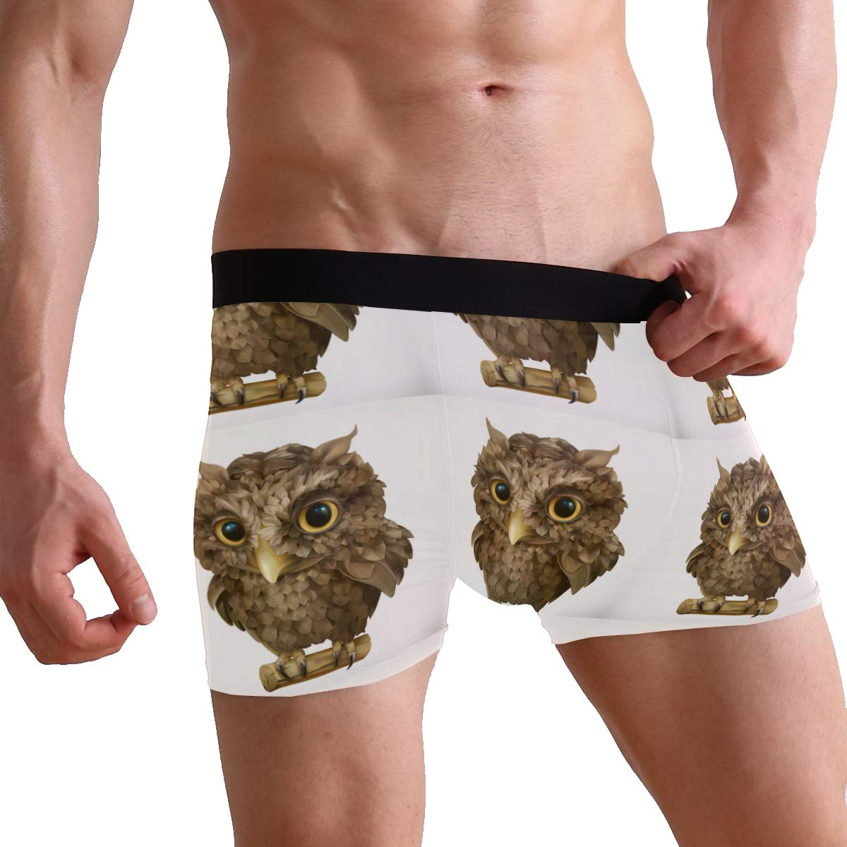Mens Owl Night Bird Underwear Boxer Briefs Ultra Soft Comfortable