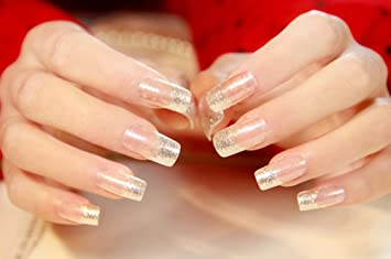 Amazon Yunai 24pcsset Art False Nails French Manicure Glitter