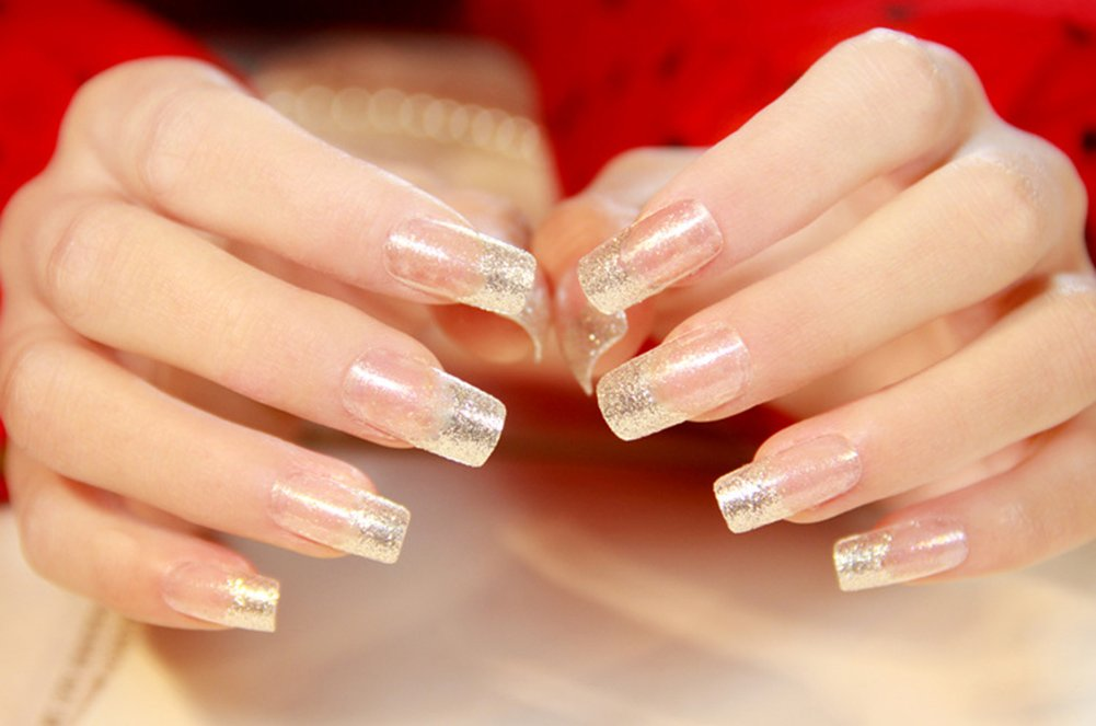 Amazon.com : YUNAI 24pcs/ set Blue Glitter Gradient Long Fake Nail ...