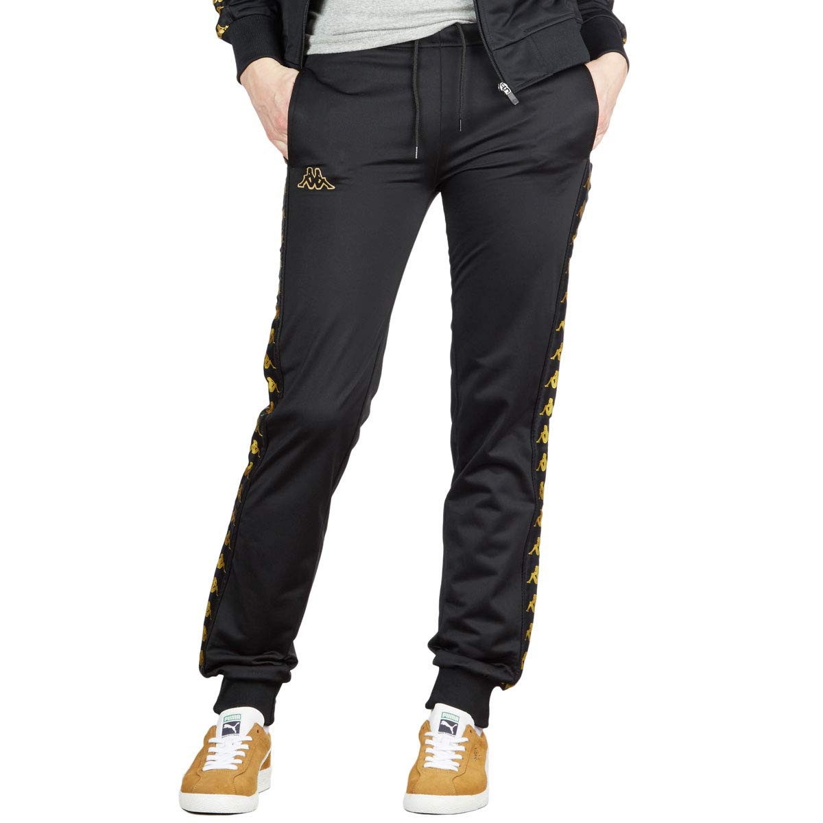 96eb0df940 Kappa Womens 222 Banda Wrastoria Slim Pants - Black/Gold Yellow at ...