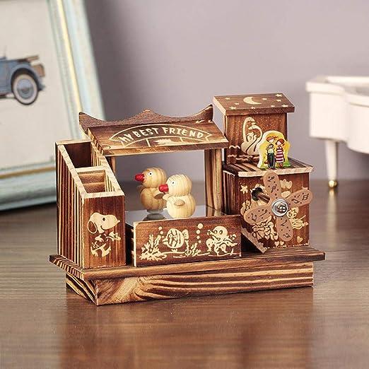 SPFAZJ Navidad Caja Musical Madera Danza Artes de Madera del Molino de Viento la Caja de música cumpleaños San Valentín día de rotación: Amazon.es: Jardín