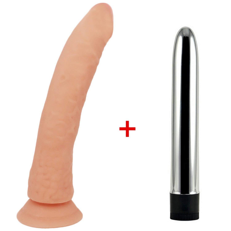 21cm Long Big Dildo Realistic Jelly Penis with Strong Suction Cup Dildo, Flesh Dildo