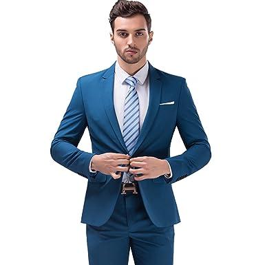 Mens 2 Piece Dress Suits Set Silm Fit One Button Suit For Men Blazer