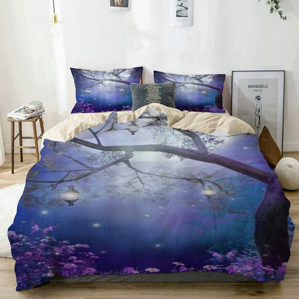 DAOPUDA Decorative Duvet Cover,Fantasy Fairy Forest Colorful Flower Butterfly Tree Lanterns Moon Nature Night Scenery Foggy Wonderland,Bedroom Hotel Dorm Bedding Set with 2 Pillow Shams,Queen