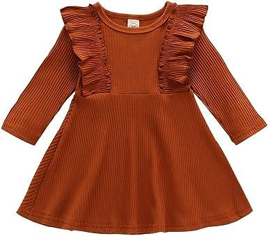 URMAGIC Vestidos para niñas pequeñas, Vestido de algodón Plisado de Punto de Manga Larga con Volantes en Color Liso para niñas Vestidos de Princesa de cumpleaños para niñas: Amazon.es: Ropa y accesorios