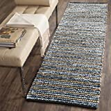 Safavieh Cape Cod Collection CAP363A Hand Woven Blue and Natural Jute and Cotton Runner (2'3'' x 8')