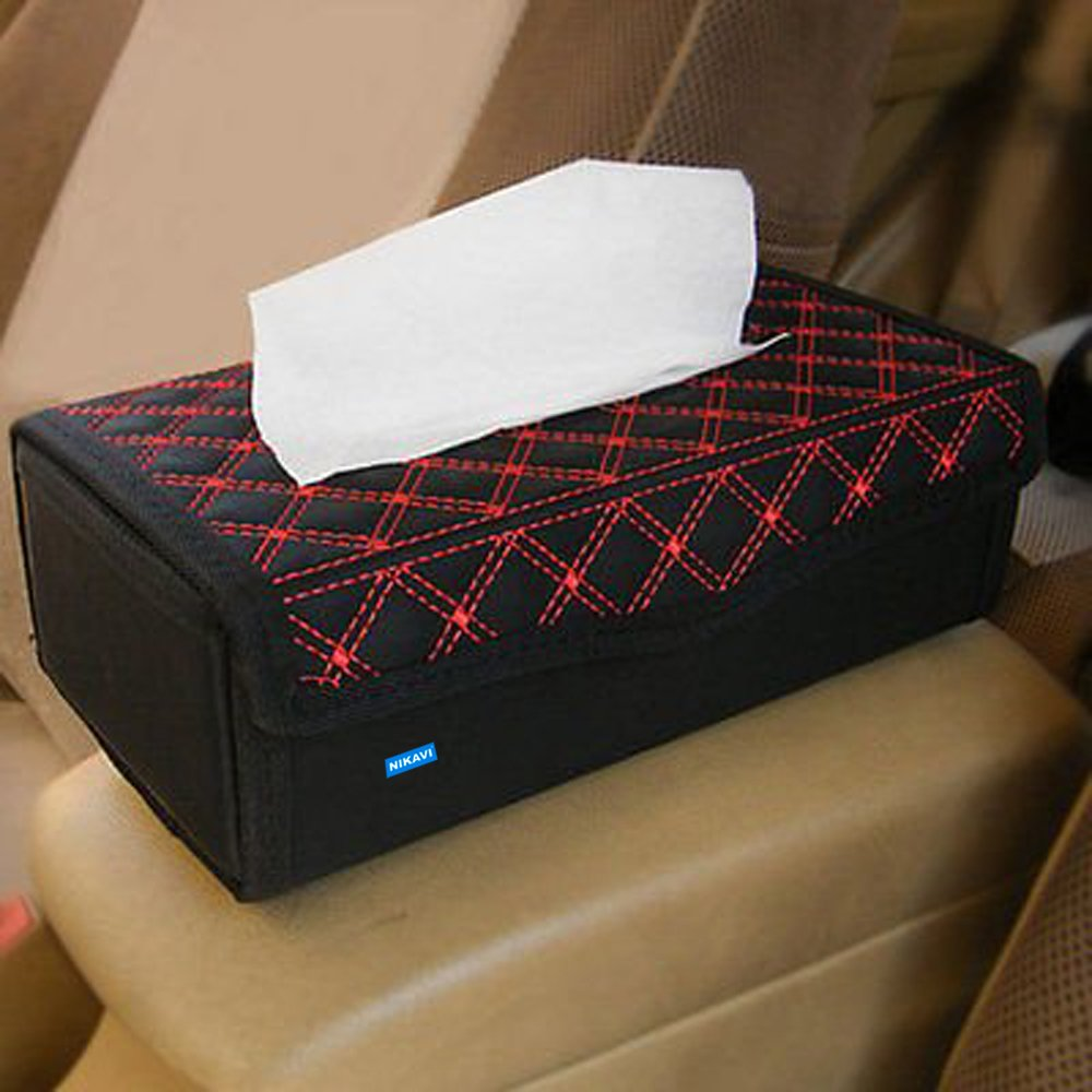 Nikavi RT01 Portable Leather Rectangular Tissue Cover Box (Red) product image