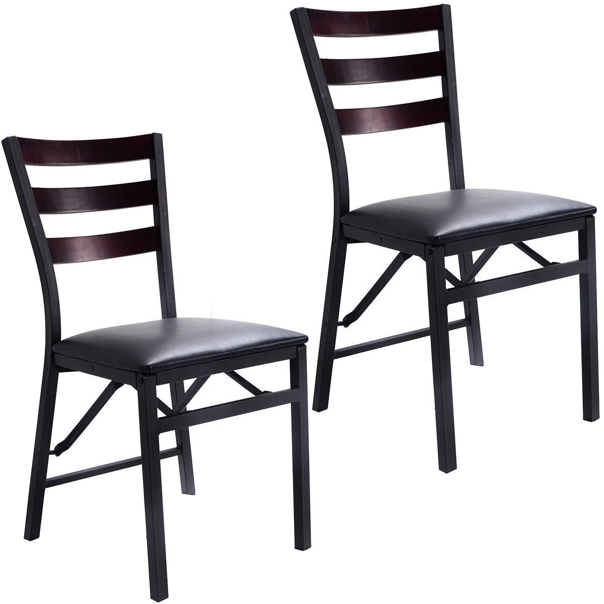 Giantex Set of 2 Wood Folding Chair Dining Chairs Home Restaurant Furniture Portable (15.6'' X 17.7'' X 33.5'')