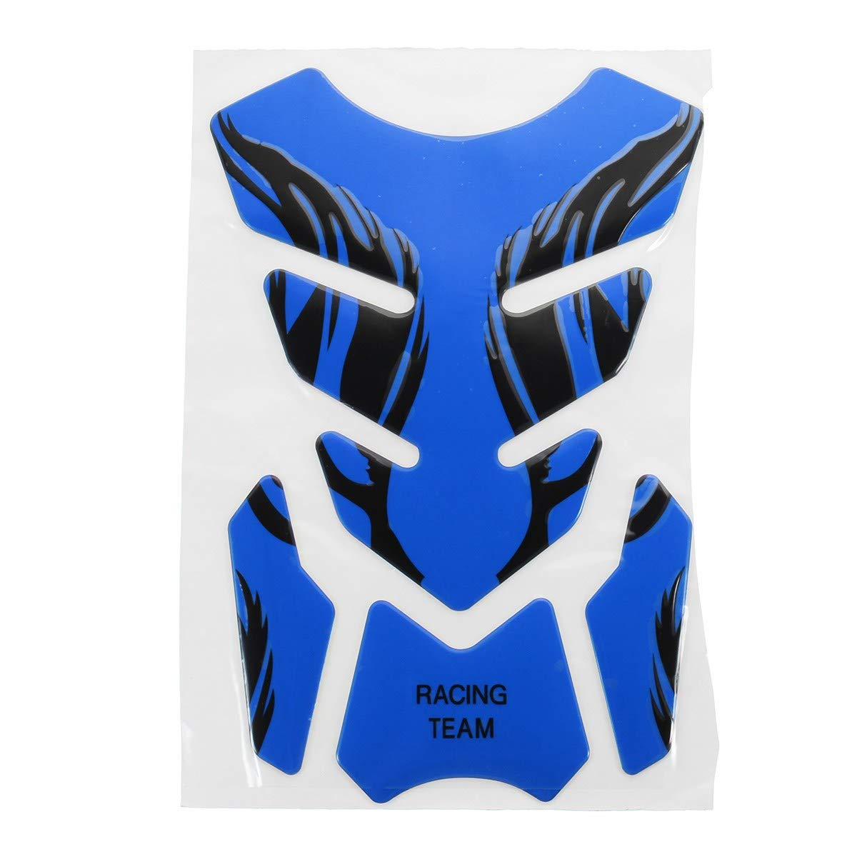 Blue 3D Motorcycle Universal Flame Fishbone Rubber Sticker Decals as Fuel Tank Pad Protector Cover