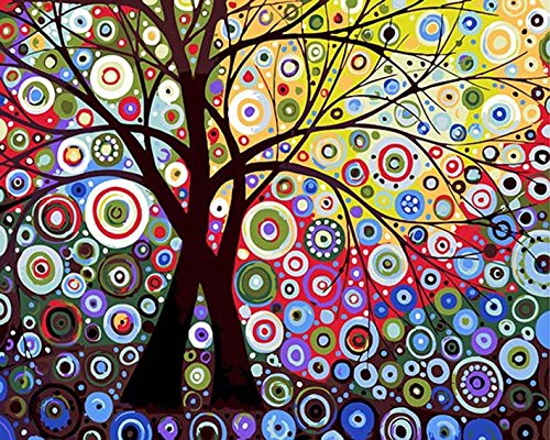 DIY PBN-paint by numbers Abstract tree-3 16-by-20 inches Frameless. Eastsunshine