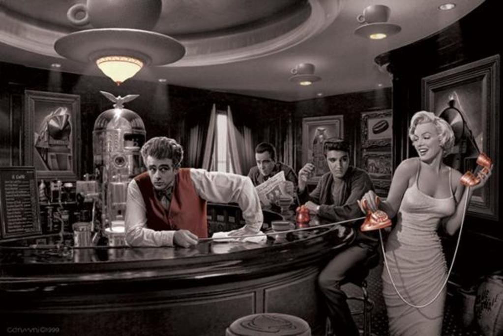 Dean, Monroe, Presley, Bogart Poster