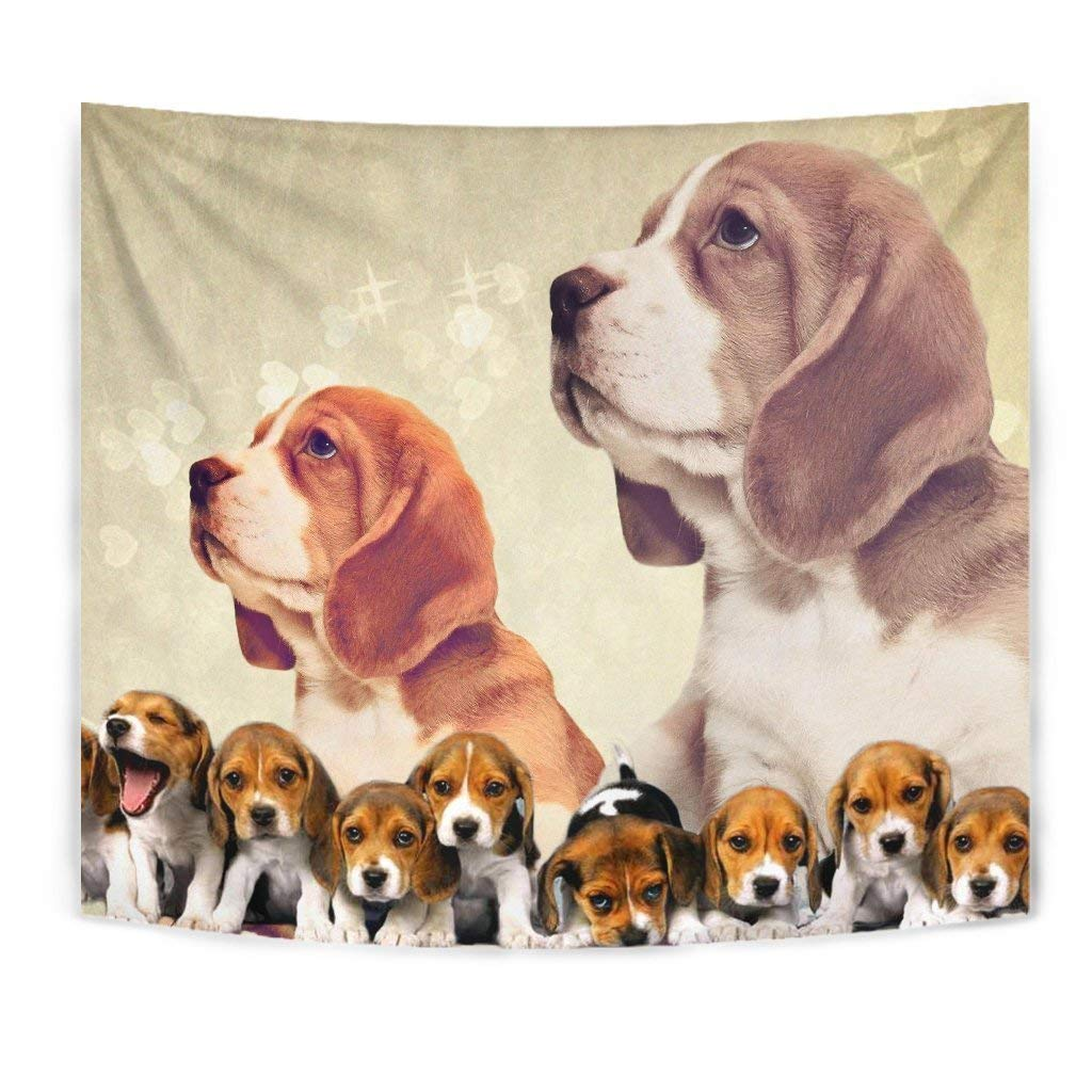 Cute Beagle Dog On Golden Print Tapestry by Breedink