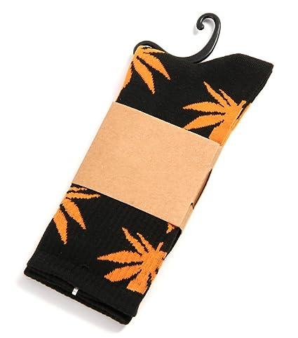 Weed Socks Marijuana - Calcetines de hierba, diseño de hojas naranjas, color negro