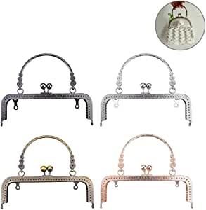 Clutch Square Embossed Metal Purse Frame Coin Bag Kiss Clasp Lock, Frame Coin Purse for Bag Sewing DIY Craft, Mixed Color, 18CM