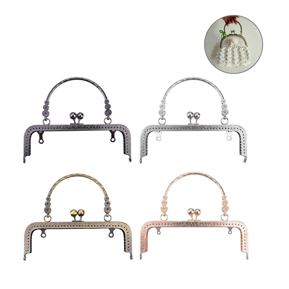 4 PCS Clutch Square Embossed Metal Purse Frame Coin Bag Kiss Clasp Lock, Frame Coin Purse for Bag Sewing DIY Craft (Mixed Color, 18CM)