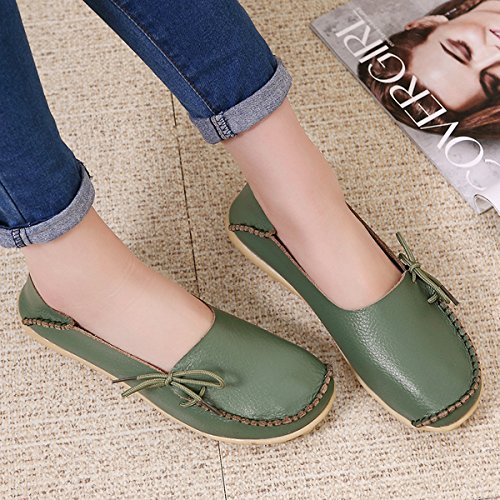 Slip Women's Shoes Green On Flats Drivers IRuis Causal Loafers Leather Pumps Slipper w6OFd1qX