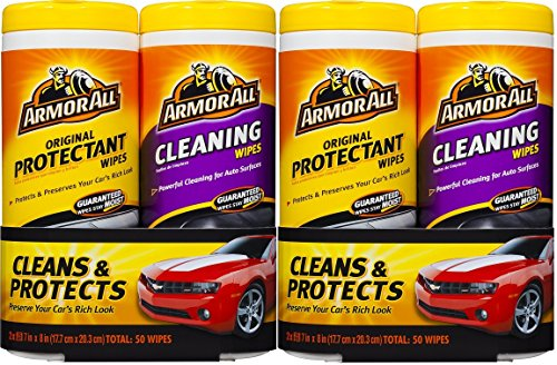 Armor All 10848 Protectant and Cleaning Wipe – 25 Sheets, (Pack of 4)