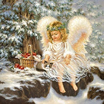 4 x Single Paper Napkins MERRY CHRISTMAS angel DECOUPAGE and Craft 100
