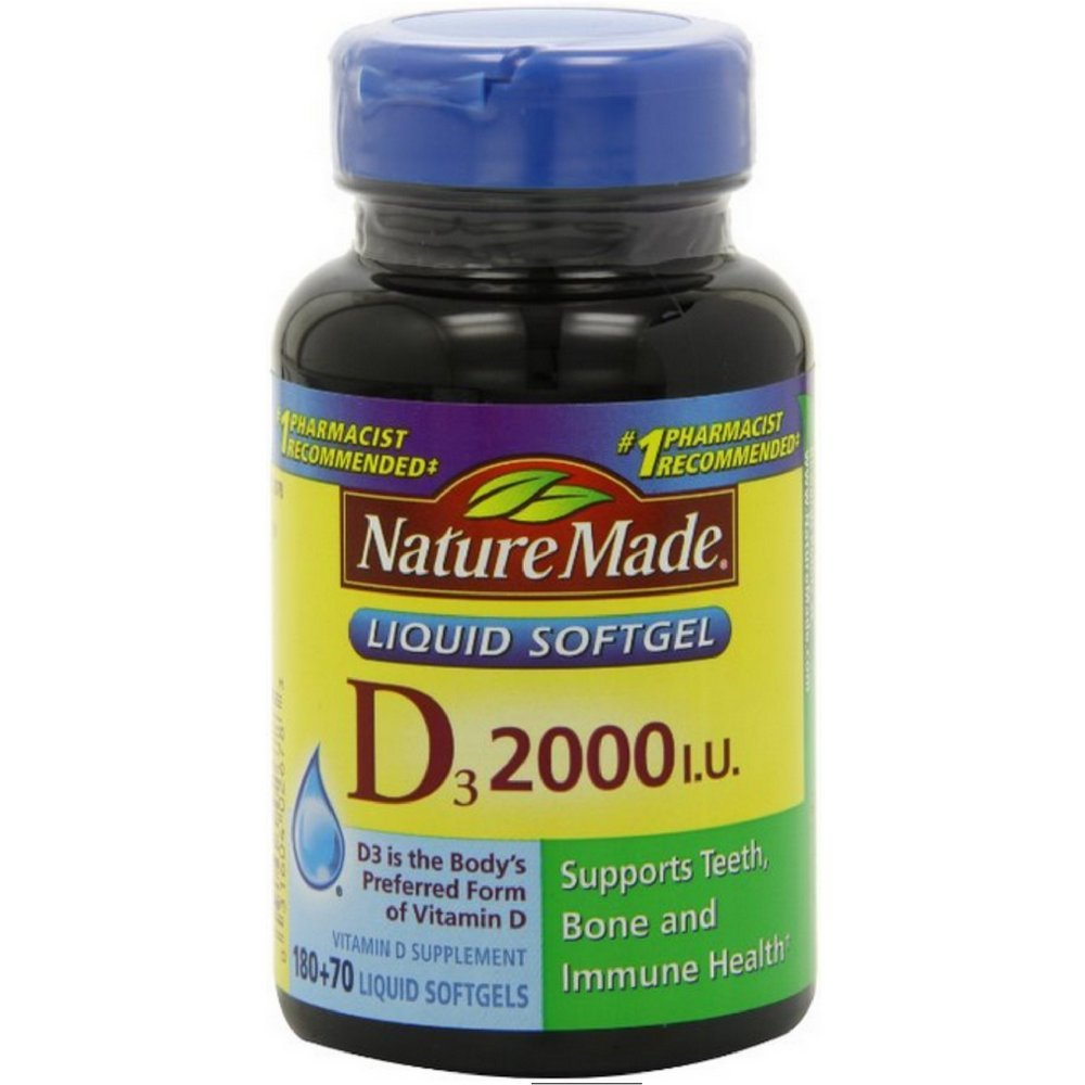 Nature Made Vitamin D3 2,000 I.U. Liquid Softgels 250 ea (Pack of 3)