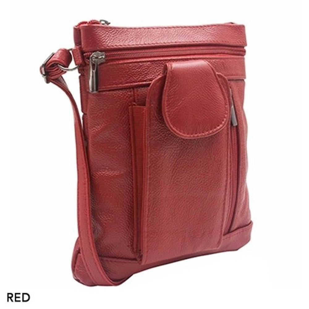 ''On-the-Go'' Soft Leather Crossbody Bag - 6 Styles (Wine)