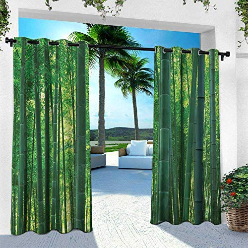 Hengshu Bamboo, Outdoor Blackout Curtains,Asian Oriental Exotic Bamboo Trees in The Rainforest Horizontal Jungle Stalk Nature View, W108 x L84 Inch, Green ()