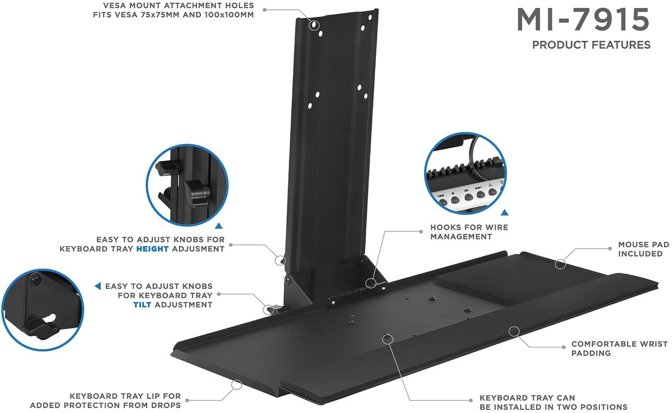 MI-7915 Monitor and Keyboard Wall Mount 25 Inch Wide Platform with Mouse Pad Height Adjustable Standing VESA Keyboard Tray Mount-It