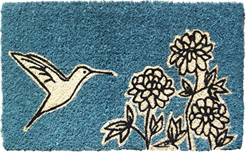 Hummingbird Floor Mat (Entryways Hummingbird Handmade, Hand-Stenciled, All-Natural Coconut Fiber Coir Doormat 18