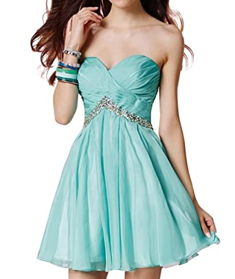 Charm Bridal Short Beading Formal Homecoming Prom Gowns Cocktail Dress Strapless -2-Mint Green