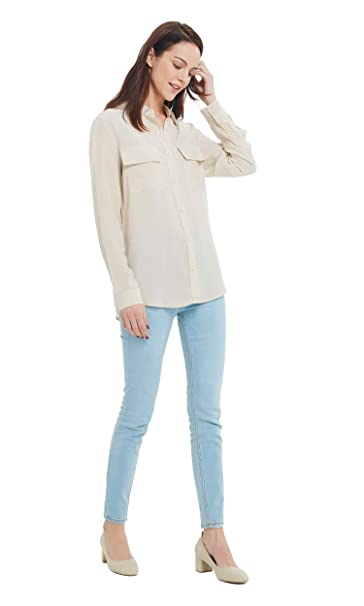6ac82056a892aa LILYSILK Basic Any Day Long Sleeve Silk Shirt for Women 100 Pure Silk Soft  XXL, Khaki: Amazon.co.uk: Clothing