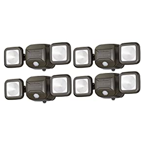 Mr. Beams MB3000 High Performance Wireless Battery Powered Motion Sensing Led Dual Head Security Spotlight, 500 Lumens, Brown, 4 Pack