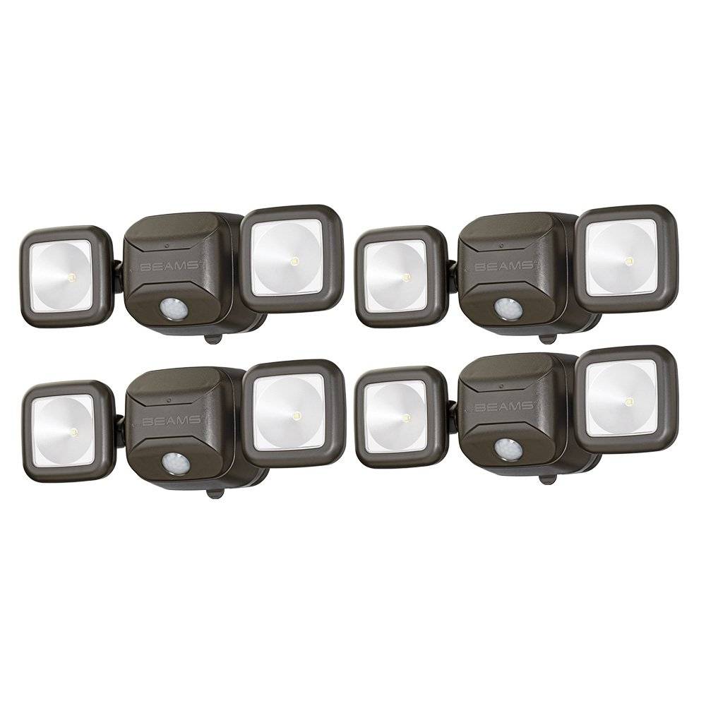 Mr. Beams MB3000 High Performance Wireless Battery Powered Motion Sensing Led Dual Head Security Spotlight, 500 Lumens, Brown, 4 Pack by Mr. Beams
