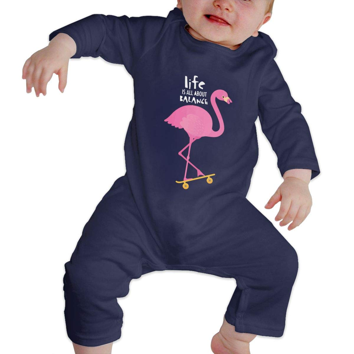 Baby Girls Coverall Flamingo with Skateboard Toddler Jumpsuit