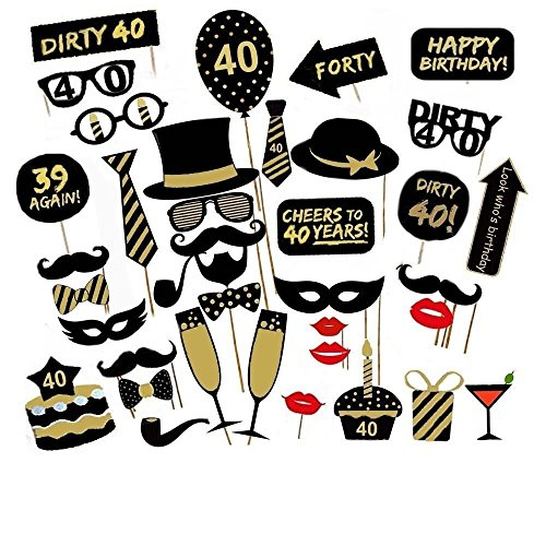 36PCS 40th Fortieth Year Birthday Party Supplies Masks Favor Photo Booth Props by Yangguang 40th Party Favors
