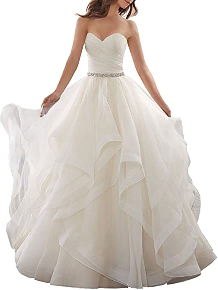 Anjuruisi Women S Organza Ruffles Ball Gown Wedding Dresses Bride Dress Ivory Uk6 Amazon Co Uk Clothing