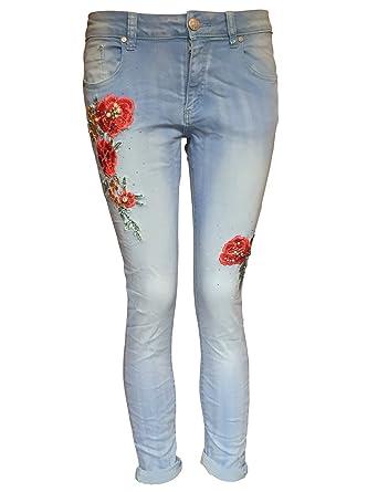 86456c8e1691 Damen Jeans bestickt mit Blumen (Gr. S): Amazon.de: Bekleidung