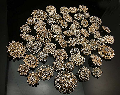 L'vow Silver/gold Color Sparking Wedding Bridal Crystal Brooch Bouquet Kit Pack of 10 (gold)