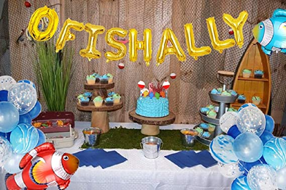 party decor Fall Birthday party decor O-fish-ally one Birthday party Big ONE kids party Photo Prop Rainbow party highchair banner