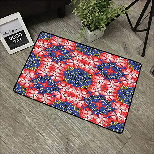 - Restaurant mat W35 x L47 INCH Floral,Blooms Pattern on Diamond Shaped Bands Vibrant Flowers Glamour Beauty Print,Royal Blue Red Gold Natural dye Printing to Protect Your Baby's Skin Non-Slip Door Mat