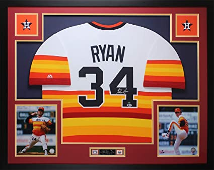 58e331eab44 Nolan Ryan Autographed Rainbow Houston Astros Jersey - Beautifully Matted  and Framed - Hand Signed By