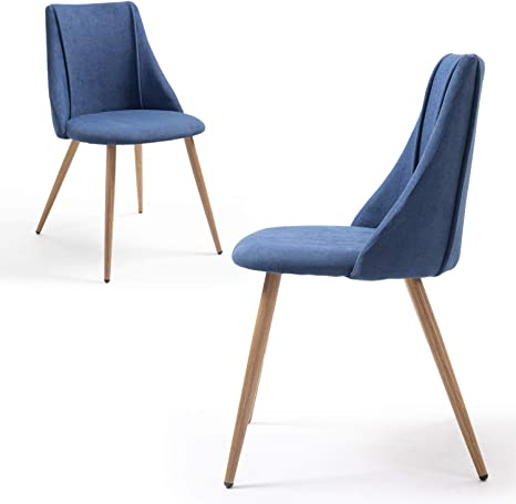 Amazon Com Set Of 2 Dining Chairs Modern Metal Legs In Wooden Color Dark Blue Seat Mid Century For Dining Room Living Room Kitchen Dining Room Furniture